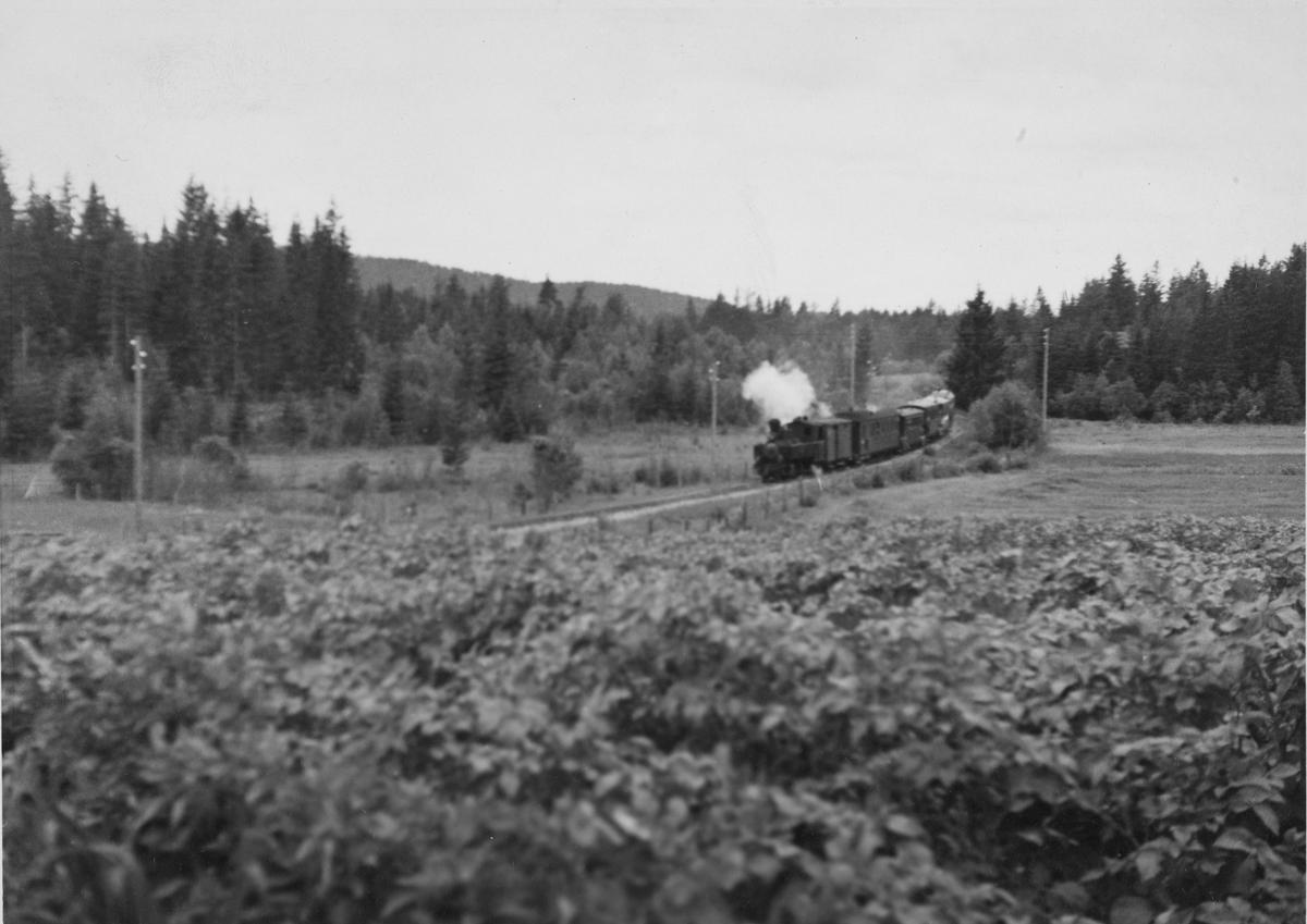 Tog 2051 på vei inn til Skulerud stasjon siste driftsdag, 30. juni 1960.