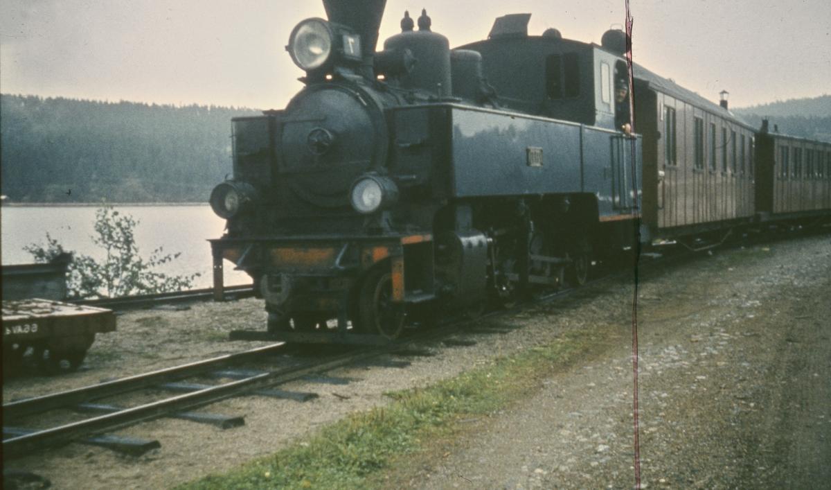 Tog retning Sørumsand har rygget ned på dampskipsbryggen på Skulerud for å ta i mot rundreisepassasjerer fra Turisten.