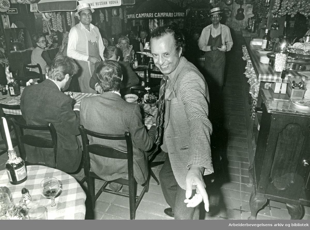 Ben Joseph Jacquesson på restauranten Chez Ben Joseph, på hjørnet av Solligata og Cort Adelers gate,.november 1984