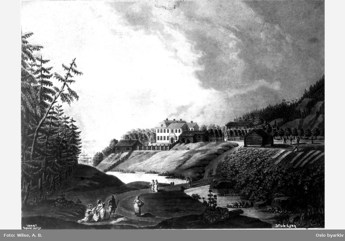 Ljan hovedgård (Stubljan). Hovedhuset og en del av gårdsbygningene, Hvervenbukta til høyre, liten elv med bro over i front