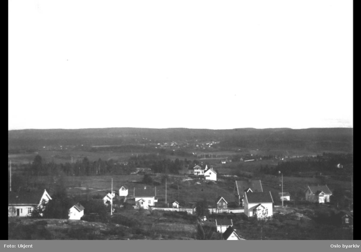 Utsikt fra Brannfjell mot øst (Bratltikollen). Ryenengen midt i bildet. Villabebyggelse