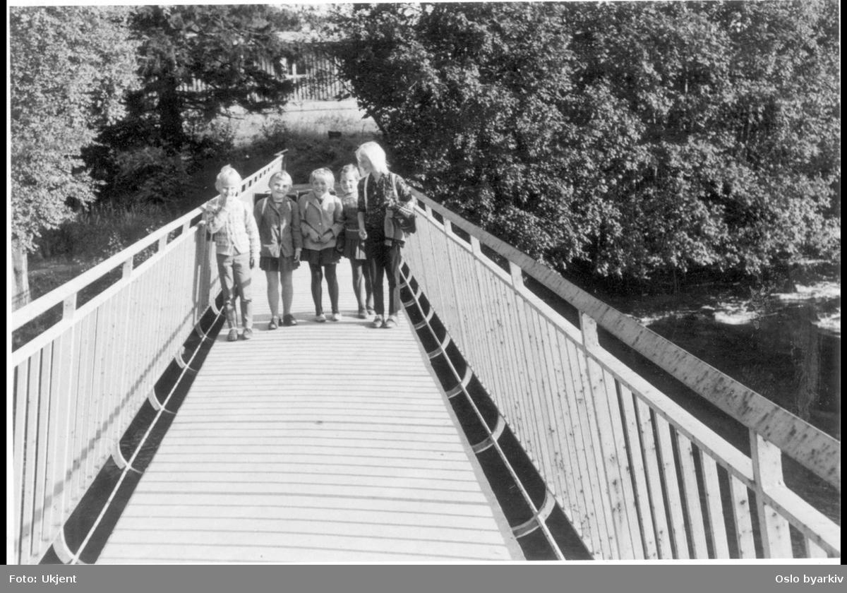 Fem smilende små piker stående på gangbru over Akerselva, ved nederste del av Stilla, ved enden av Solligrenda, over til Svensenga.