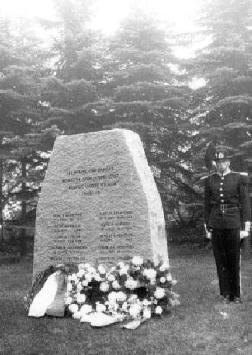 Krigsminnesmerke Minnestein. Stor grovt tilhugget støtte, vertikal flate et stykke foran. Granitt. Høyde ca 225 cm.