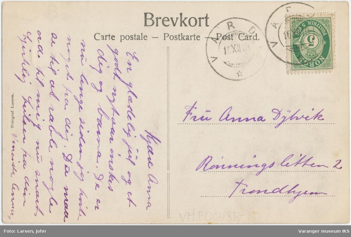 Postkort, Nordre Våg full av båter, Vestervågen og Vårberget i bakgrunnen
