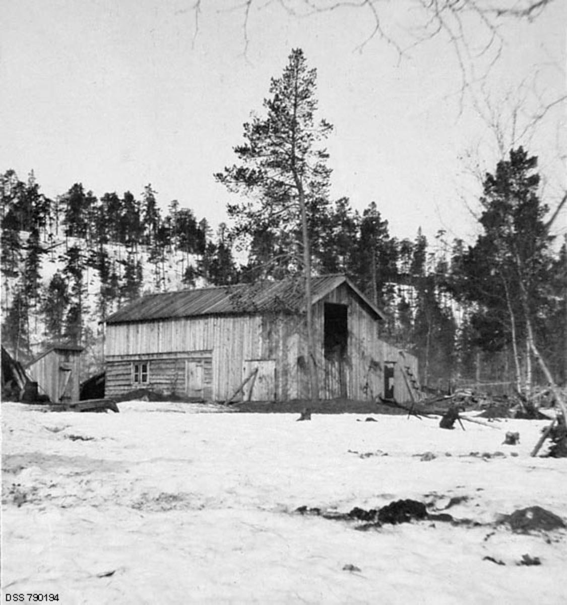 Driftsbygning på skogvoktergarden Nesheim i Pasvikdalføret.  Fotografiet er tatt på snødekt mark, antakelig seint på vinteren i 1913.  Fotografiet viser en driftsbygning, der deler av underetasjen var utført i lafteteknikk.  Denne delen av bygningen inneholdt antakelig fjøs- og stallrom. Ellers er bygningen oppført i bordkledd bindingsverk.  Bordkledningen er en vertikalstilt glattpanel, såkalt «låvepanel».  Saltaket later til å være tekket med bord.  I den gavlenden som vender mot fotografen er det en stor portåpning til «kjøringa» i den øvre delen av bygningen.  Denne porten hadde ennå ikke fått dører, og hadde heller ingen oppkjørselsbru.  Det kan imidlertid synes som om det er ei slik bru i den andre bygningsgavlen.  Det ser også ut til at man var i ferd med å reise en tilbygning i bordkledd bindingsverk med pulttak langs den langveggen vi ikke ser på dette fotografiet.  Denne tilbygningen hadde ennå ikke fått tak da bildet ble tatt.  Til venstre for driftsbygningen står et lite hus med pulttak, antakelig en utedo.  Den snødekte flata i forgrunnen er antakelig dyrket mark.  I bakgrunnen en åsrygg med glissen furuskog.   Den gamle skogvoktergarden Nesheim ble herjet av brann 16. april 1909.  Bebyggelsen var forsikret for 1 650 kroner.  Ettersom mulighetene for å drive jordbruk ved skogvokterboligen hadde vist seg vanskelige, bestemte etaten at skogvoktergarden skulle gjenoppbygges ved Galgonjarg, cirka tre kilometer fra det opprinnelige anlegget.  Gjenoppbygginga tok tid.  Først i 1911 var det «nye Nesheim» ferdig.  Anlegget skal ifølge skogvalteren i distriktet ha fått en noe «større stil» enn det som ble ødelagt av brann, noe som også forklarer at byggekostnadene oversteg både den nevnte brannforsikringssummen og budsjettet på 1 800 kroner.  Endelig byggesum ble 2 112, 03 kroner. Bygningene på bildet er altså bygd i 1910-1911, og det var følgelig bare to-tre år gammelt da dette fotografiet ble tatt.  Skogvokter Ottar H. Øksendal (1869-1971) hadde nettopp fratrå