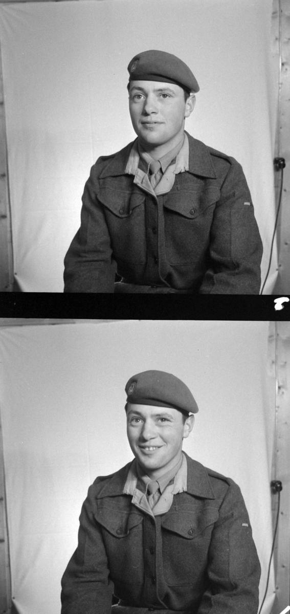 Portrett, militær, Sivert Listad, Gjølme i Orkanger. Starum leir på Lena, Toten. Oppland fylke.