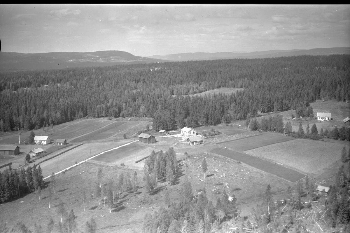Plassen-gårdene.Pladsen (Gnr 158/43) i Sørskogbygda i sentrum av bildet. Pladsen Østre (Gnr 158/42) til høyre. Pladsen Vestre (Gnr 158/45) til venstre.