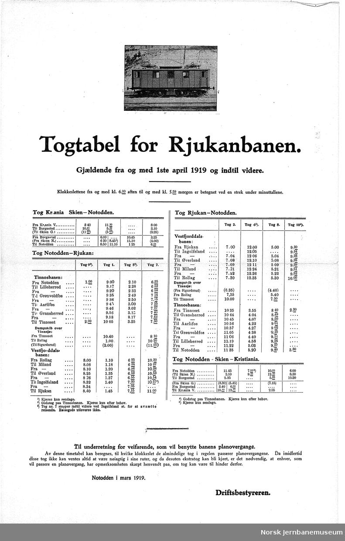 Ruteoppslag fra Rjukanbanen