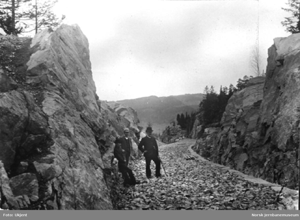Hamar-Selbanens anlegg; befaring i fjellskjæring ved Rise rett nord for Ring stasjon