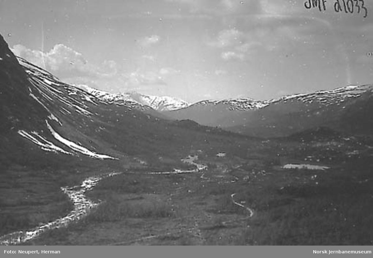 Utsikt fra Bergensbanen ved Ørneberget i Raundalen, mot Kleiven gård