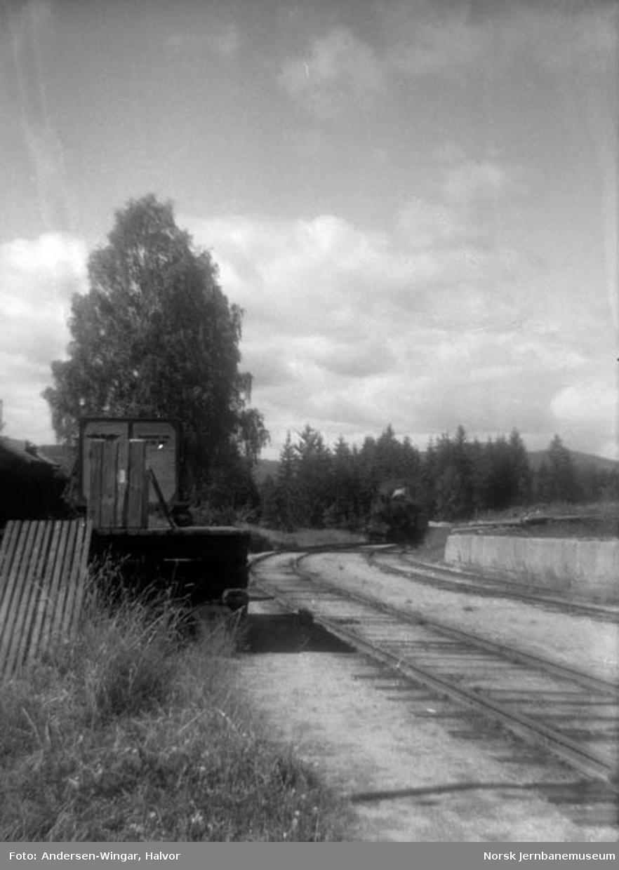 Sysle stasjon med ankommende godstog i bildekanten