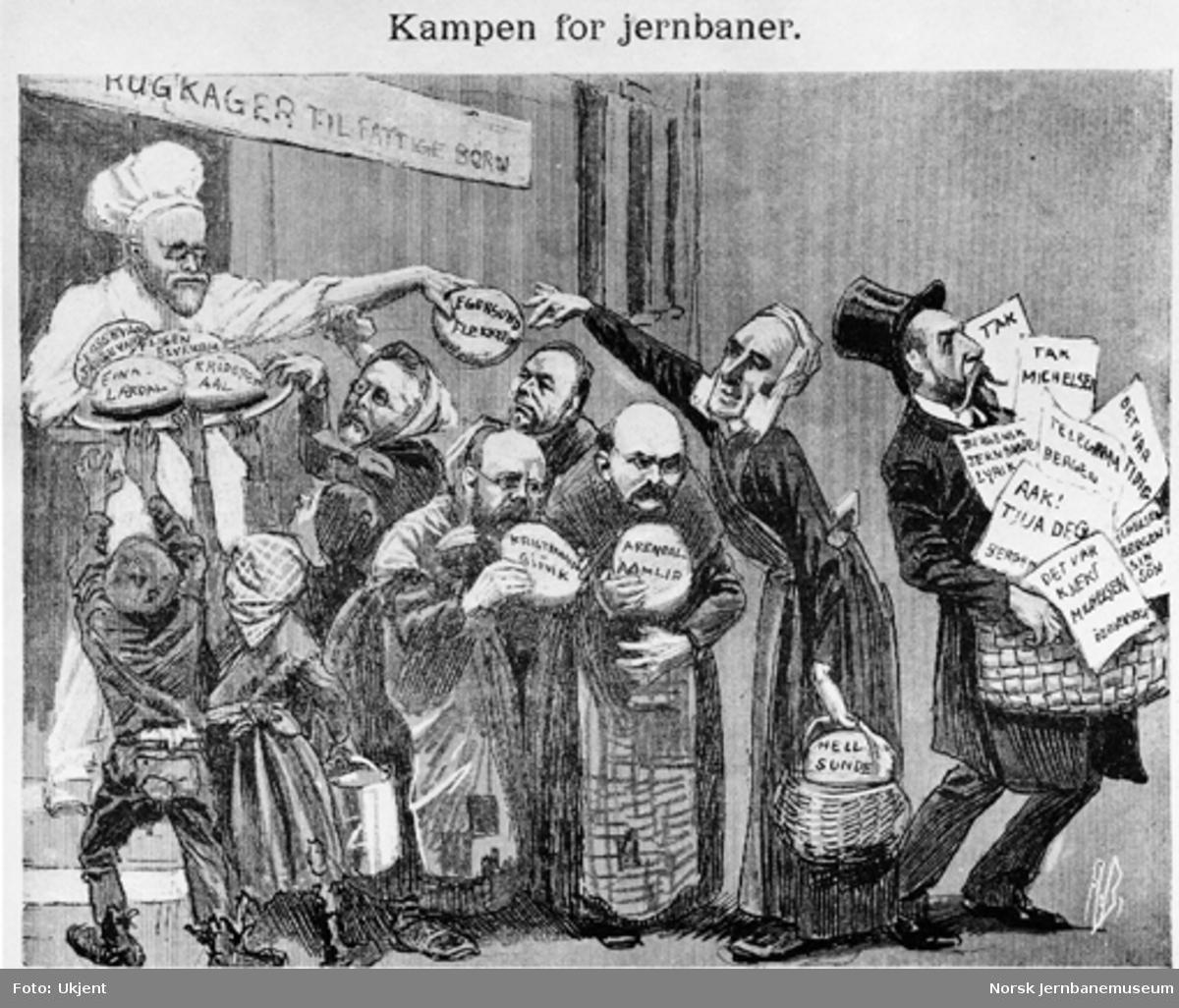 Humoristisk tegning : Kampen for jernbaner