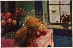 Postkort. Jule- og nyttårshilsen. Interiør. Bord med frukt o