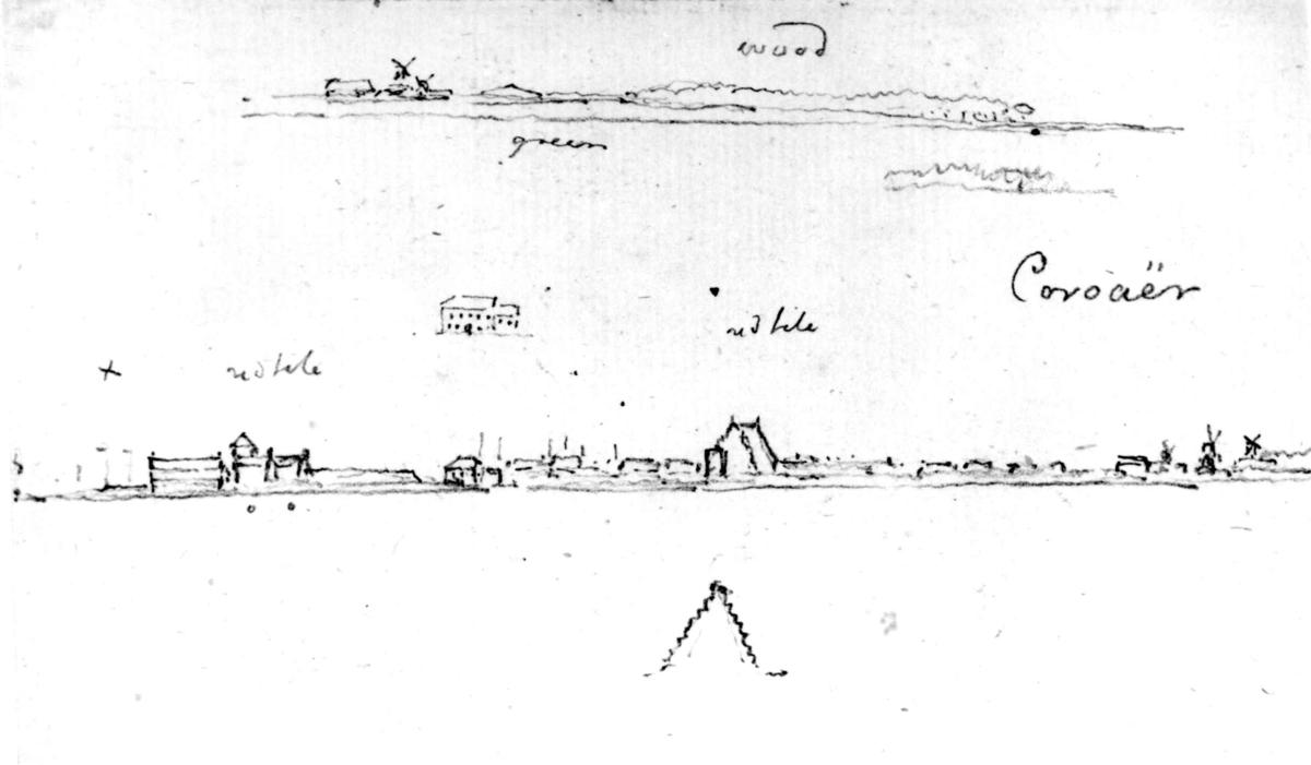 """Korsør, Sjælland, Danmark. Fra skissealbum av John W. Edy, """"Drawings Norway 1800""""."""
