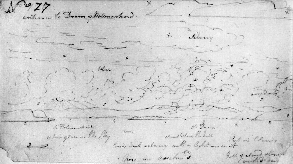 """DrammensfjordenFra skissealbum av John W. Edy, """"Drawings Norway 1800""""."""