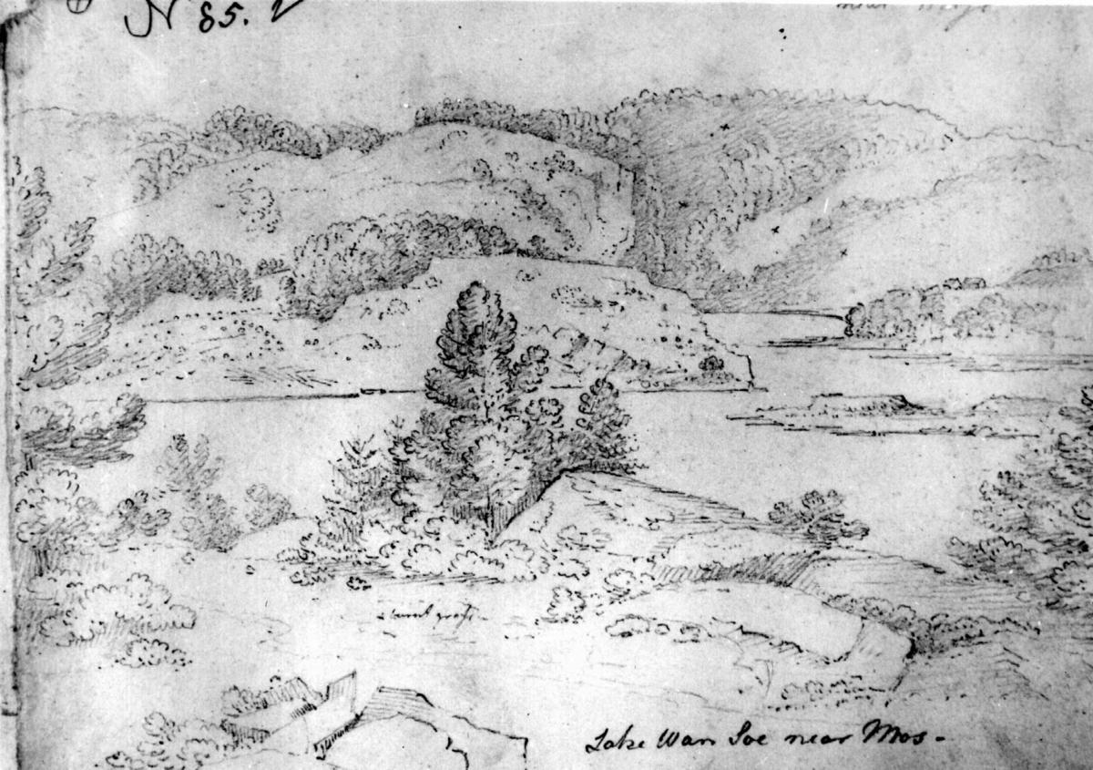 "VannsjøFra skissealbum av John W. Edy, ""Drawings Norway 1800""."