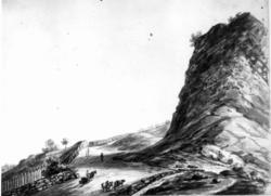 """Oslo. Christiania. Blyantskisse av John Edy: Drawings, Norway, 1800. """"Veien opp Ekeberg""""? Skissealbum utlånt av Deichmanske bibliotek."""