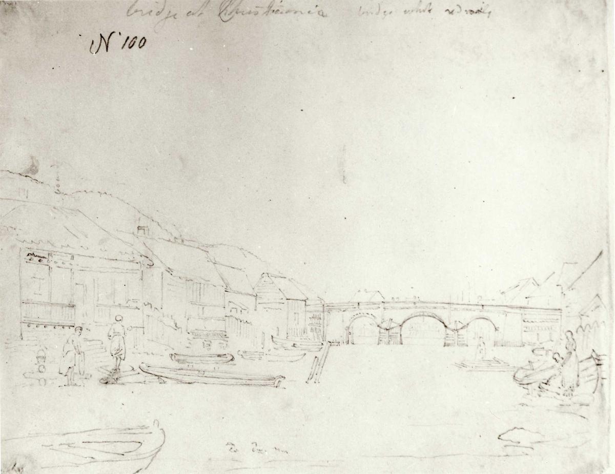 """Oslo. Christiania. Blyantskisse av John Edy: Drawings, Norway, 1800. """"Bridge at Christiania"""" Skissealbum utlånt av Deichmanske bibliotek."""