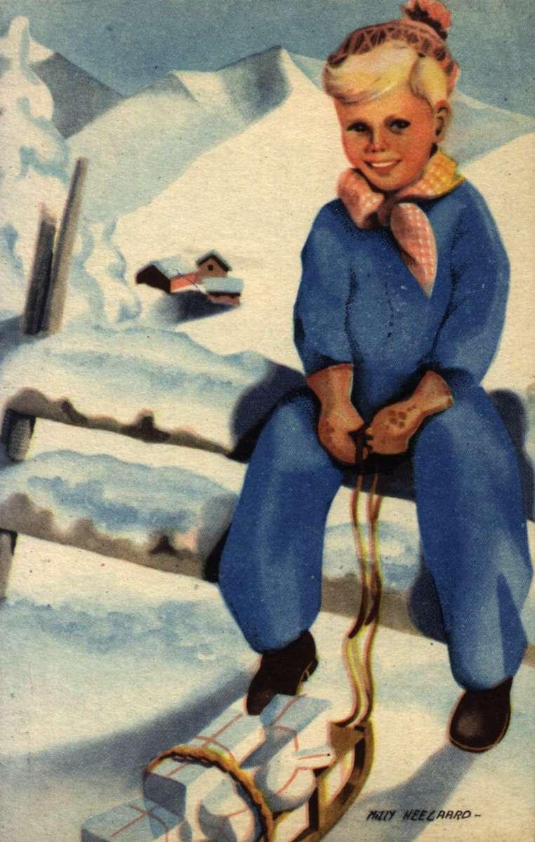 Julekort. Ubrukt. En gutt med en kjelke full av julegaver.  i bakgrunnen et snødekt fjellandskap med gårdstun. Illustrert av Milly Heegaard (1908-1970).