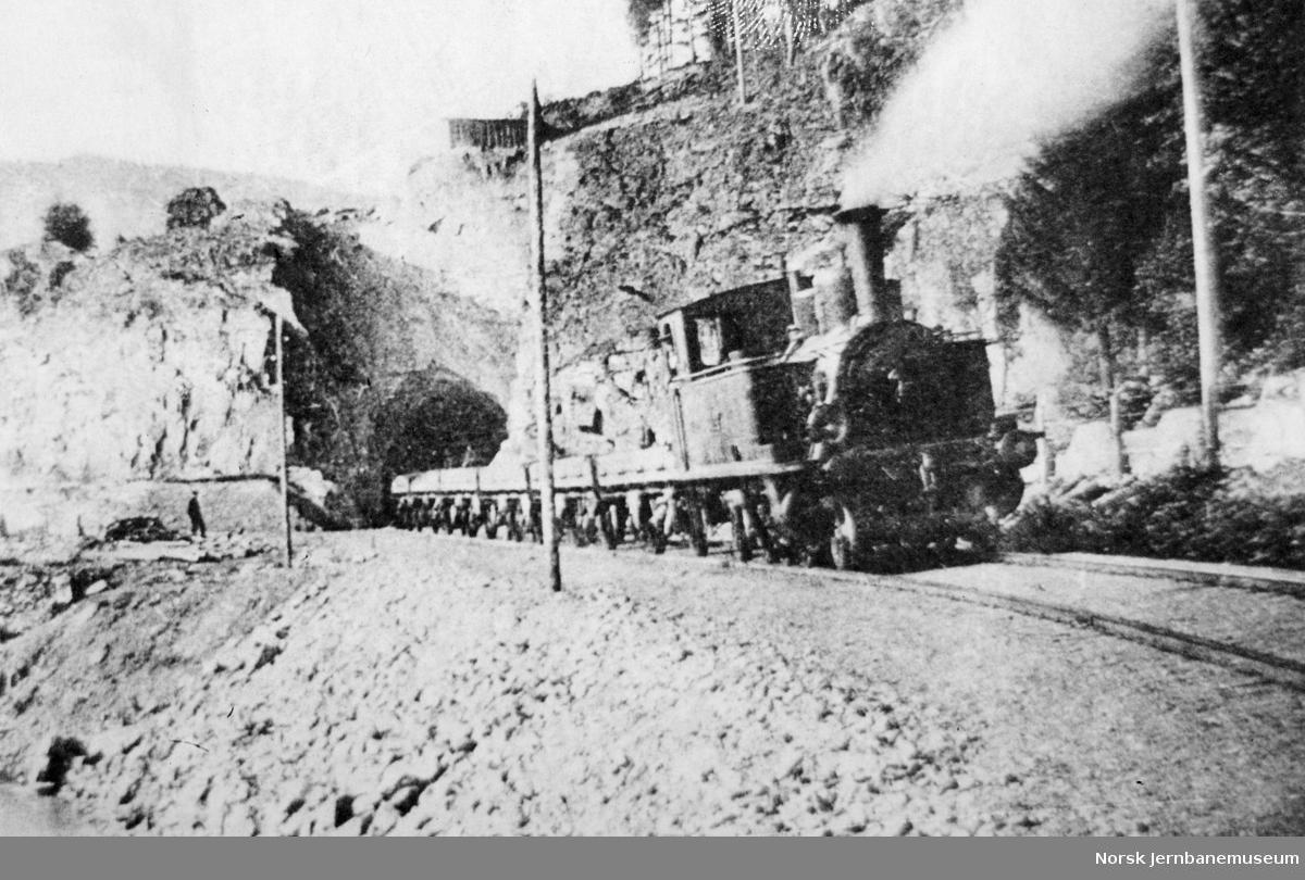 Valdresbanelokomotiv med grustog nær Fagernes