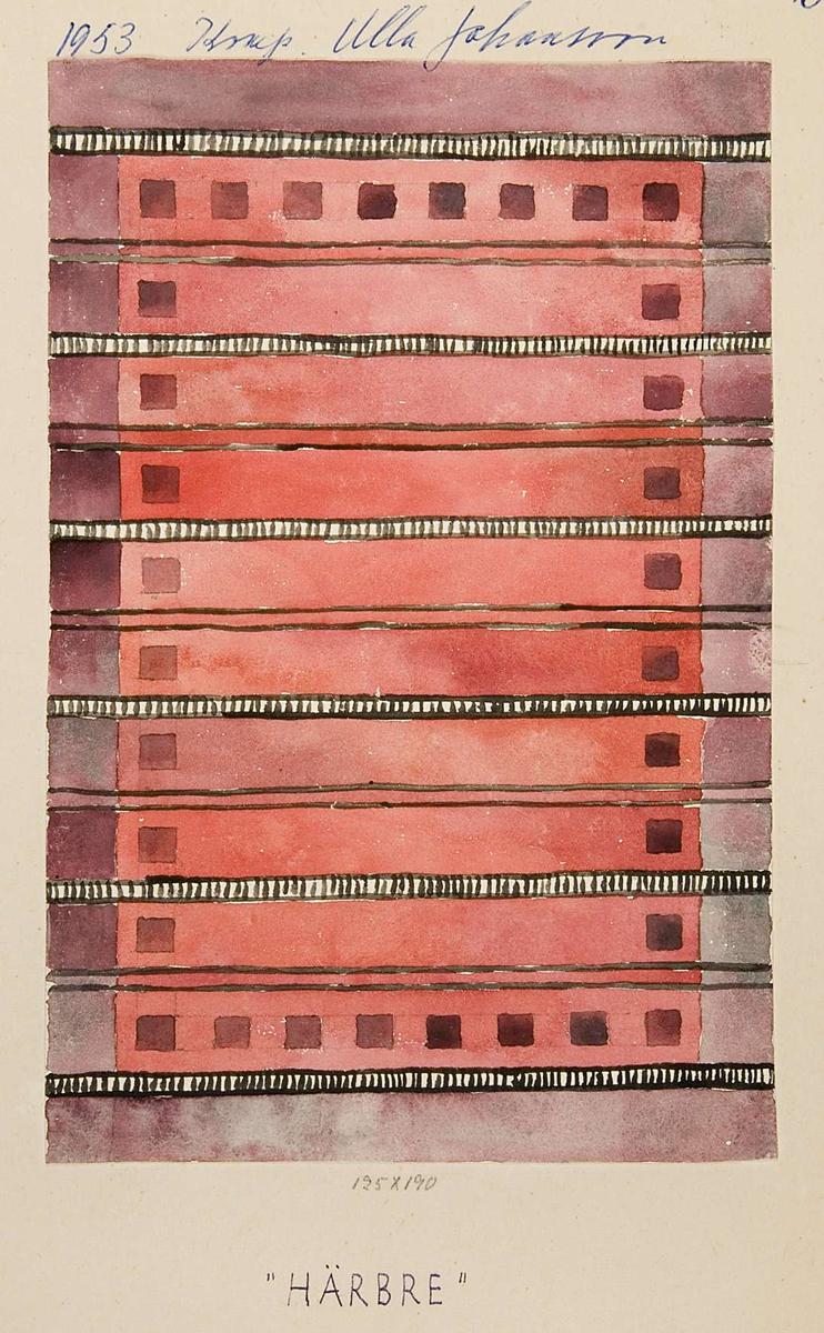 """Två skisser av röllakansmattor i färgerna gult, grått och svart respektive rött, lila och svart. Skisserna är gjorda med vattenfärg på papper som sedan klistrats upp på pappskiva. På pappskivorna står """"1953 Komp. Ulla Johansson Härbre röllakan"""". Båda skisserna är märkta """"B-3704""""."""