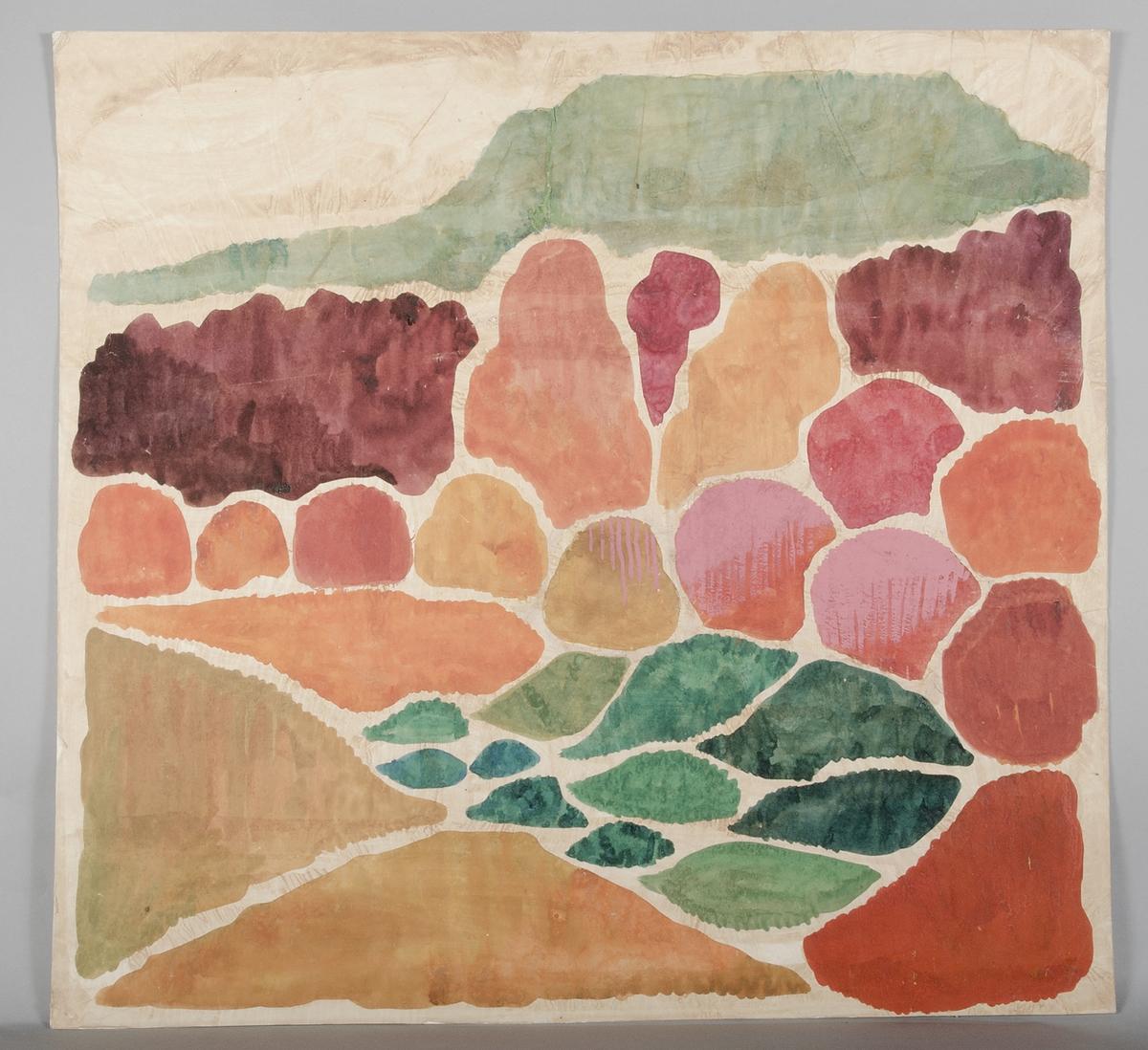 """Tre färgskisser som visar förslag till dekorativ vävnad. Skisserna är gjorda med vattenfärg på silkespapper som klistrats på kartong. Skisserna är i blå, gula respektive röda nyanser. På baksidan är skisserna märkta med """"B-4052 ARKIV"""" och en stämpel med texten """"KONSTHANTVERKARE INDUSTRIFORMGIVARE FÖRENING Denna originalritning är upphovsmannens egendom och får ej reproduceras, kopieras eller läggas till grund för utförande av alster, ej heller visas för konkurrerande firmor eller andra obehöriga. Om avtal om överlåtelse ej träffas skall ritningen återlämnas till upphovsmannen på anmodan av denne eller om den förkommit ersättas med kr 200:-"""". På baksidan av skisserna finns även påklistrade gröna etiketter med ungefär följande text (små variationer mellan skisserna) """"'STENRÖSET BORT I BACKEN'. (röd). Förslag till serievävd textil. Storlek: 68 x72 cm. Skiss i naturlig skala. Teknik: Ryssväv - se bifogat prov. FÖR UPSALA LÄNS HEMSLÖJDSFÖRENING. Sigtuna den 15.3.1972 Gunilla Schildt Stuart""""."""