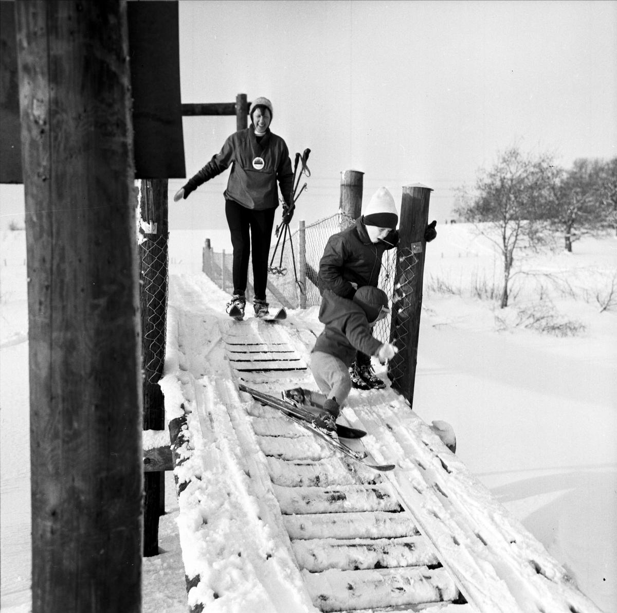 Skidåkare i Torslundabacken, Tierp, Uppland 1967
