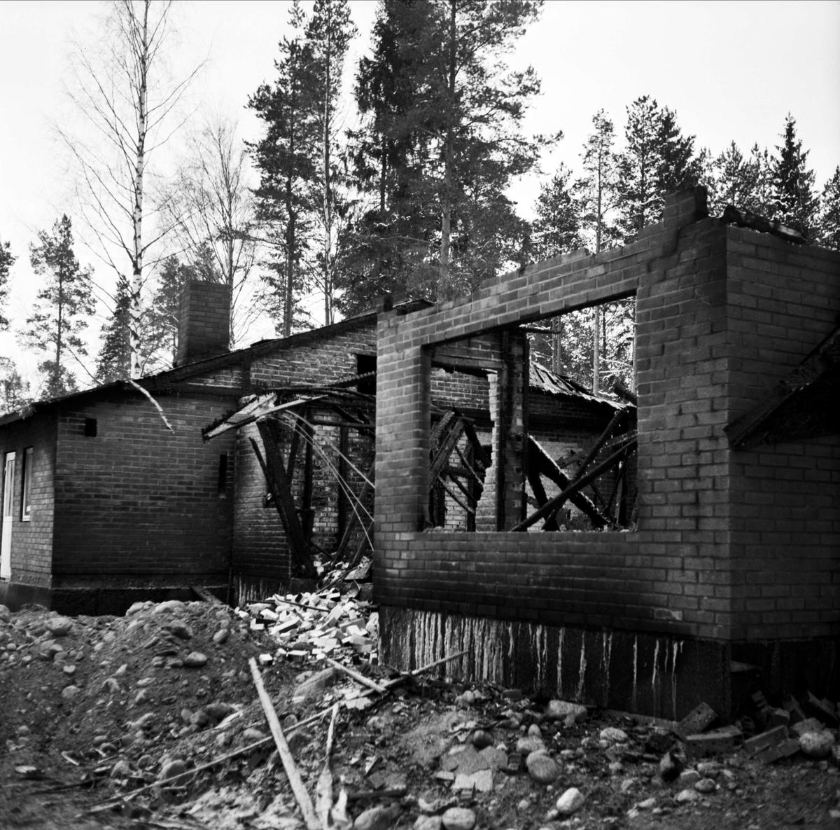 Villabrand i Mehedeby, Uppland december 1967