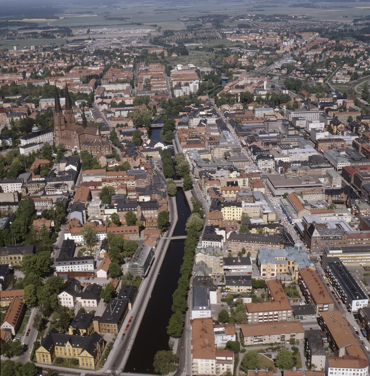 Vy över Uppsala innerstad, juni 1989