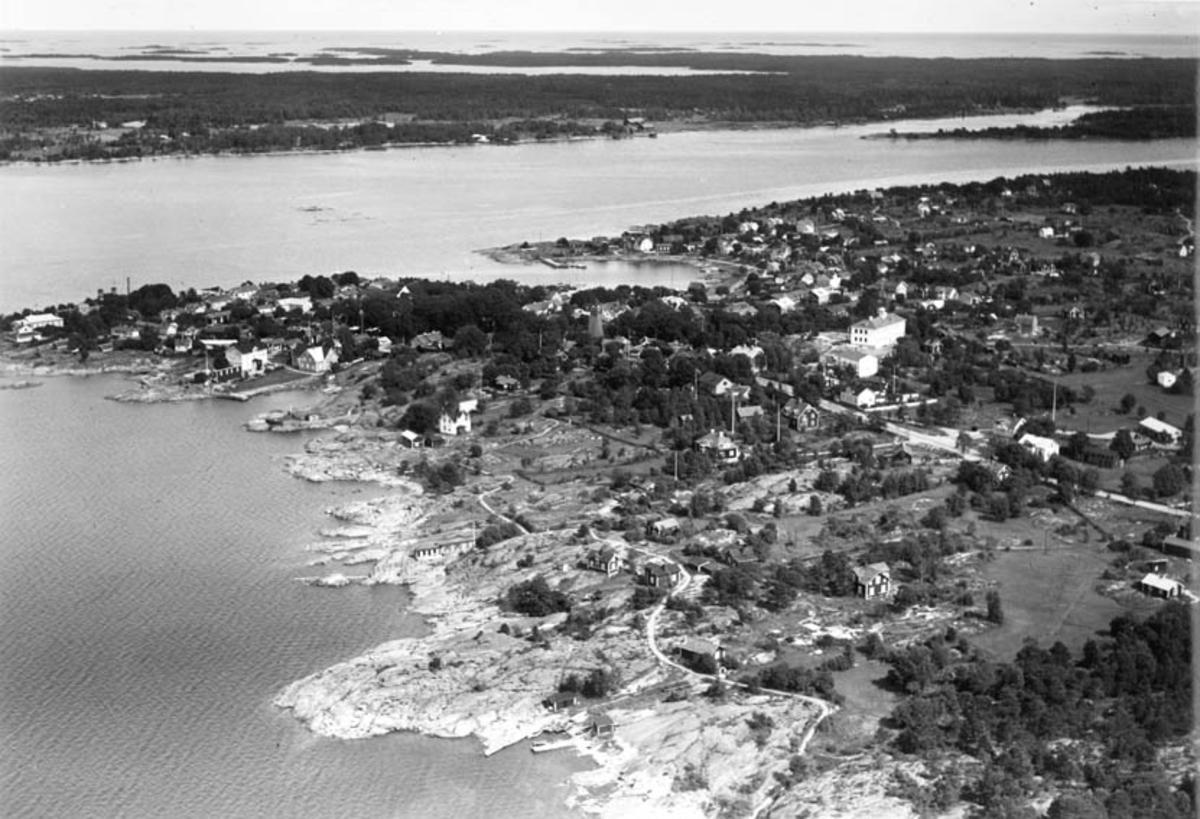 Flygfoto över Öregrund och delar av Gräsö, Uppland 1936