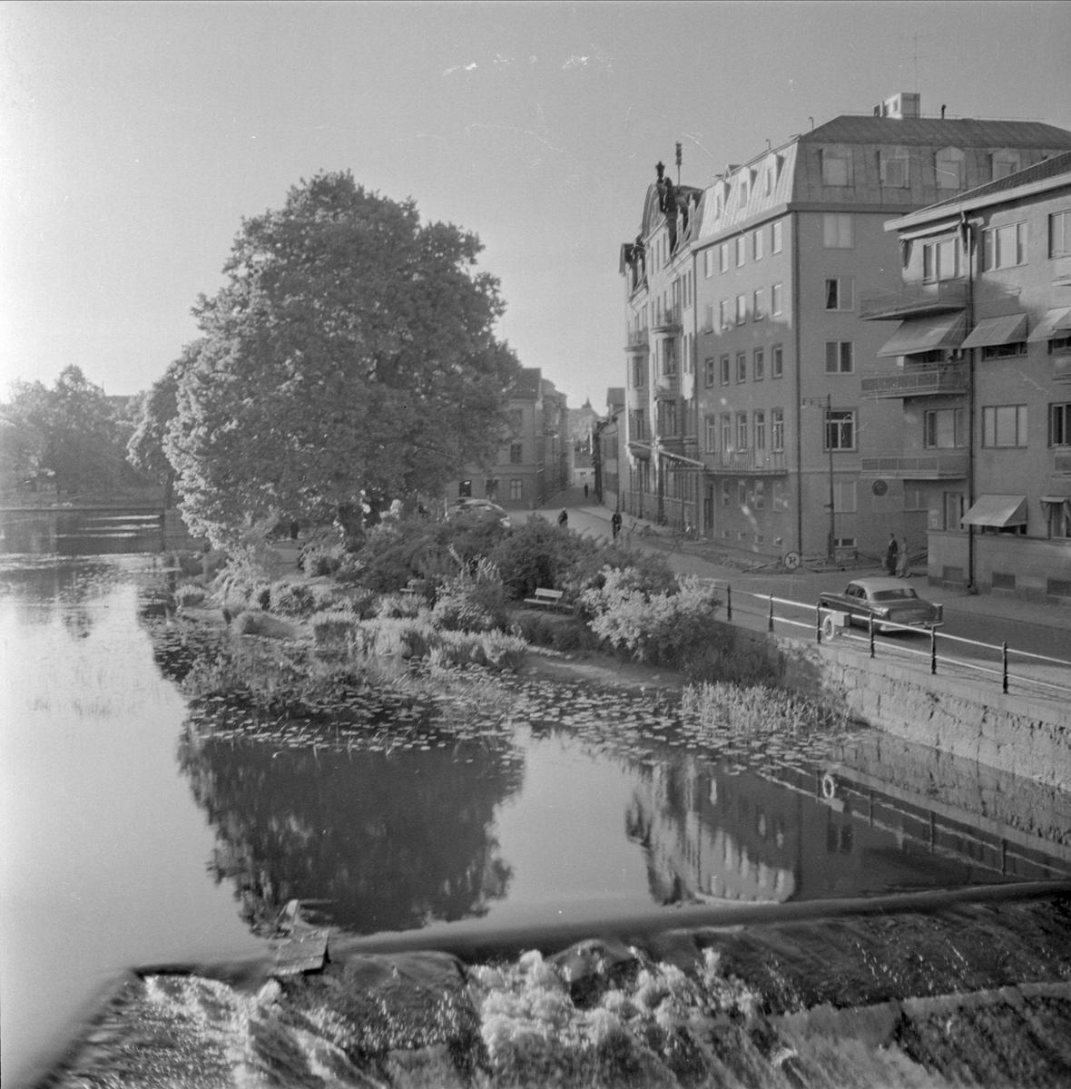 Fyrisån vid Kvarnfallet, Östra Ågatan, kvarteret Klostret, Uppsala