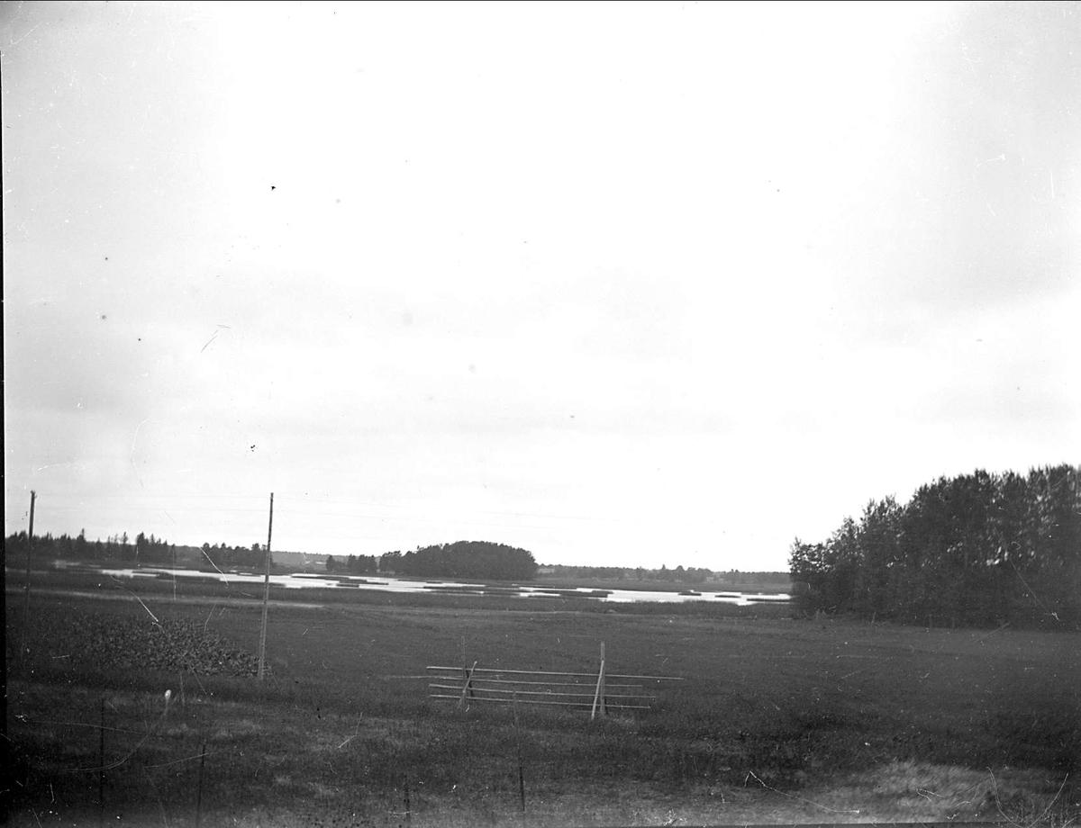Landskapsvy med ängsmark och sjö i Tegelsmora socken, Uppland, september 1915