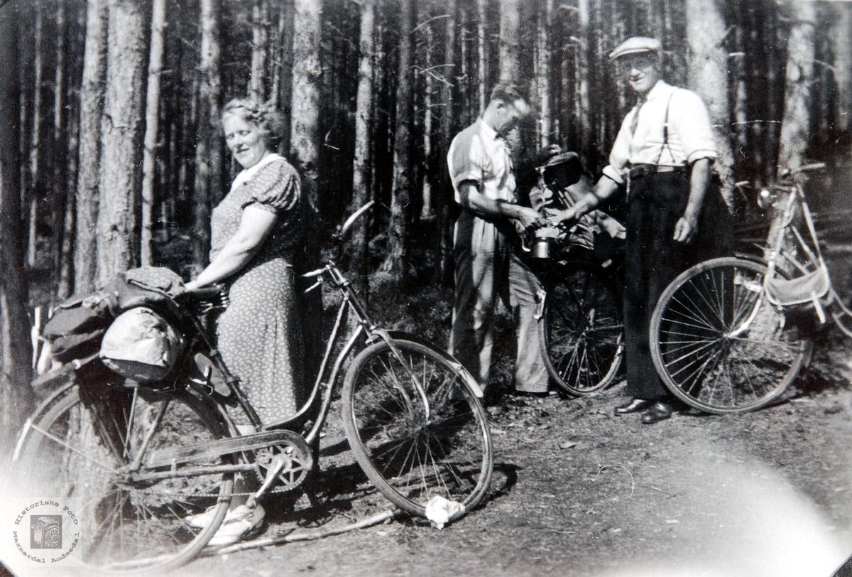 Konsmoungdom på sykkeltur i Setesdal.