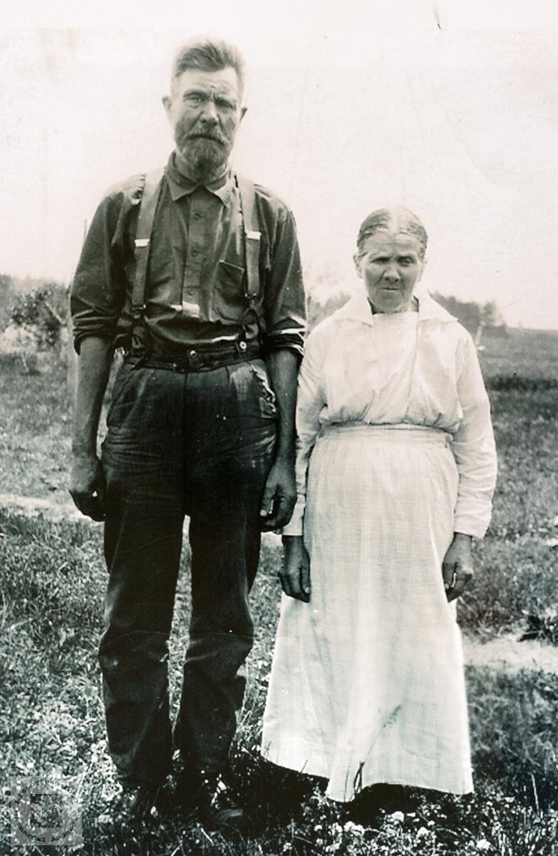 Portrett av ekteparet Jacob og Tomine Olson, USA. Med røtter på Håland i Audnedal.