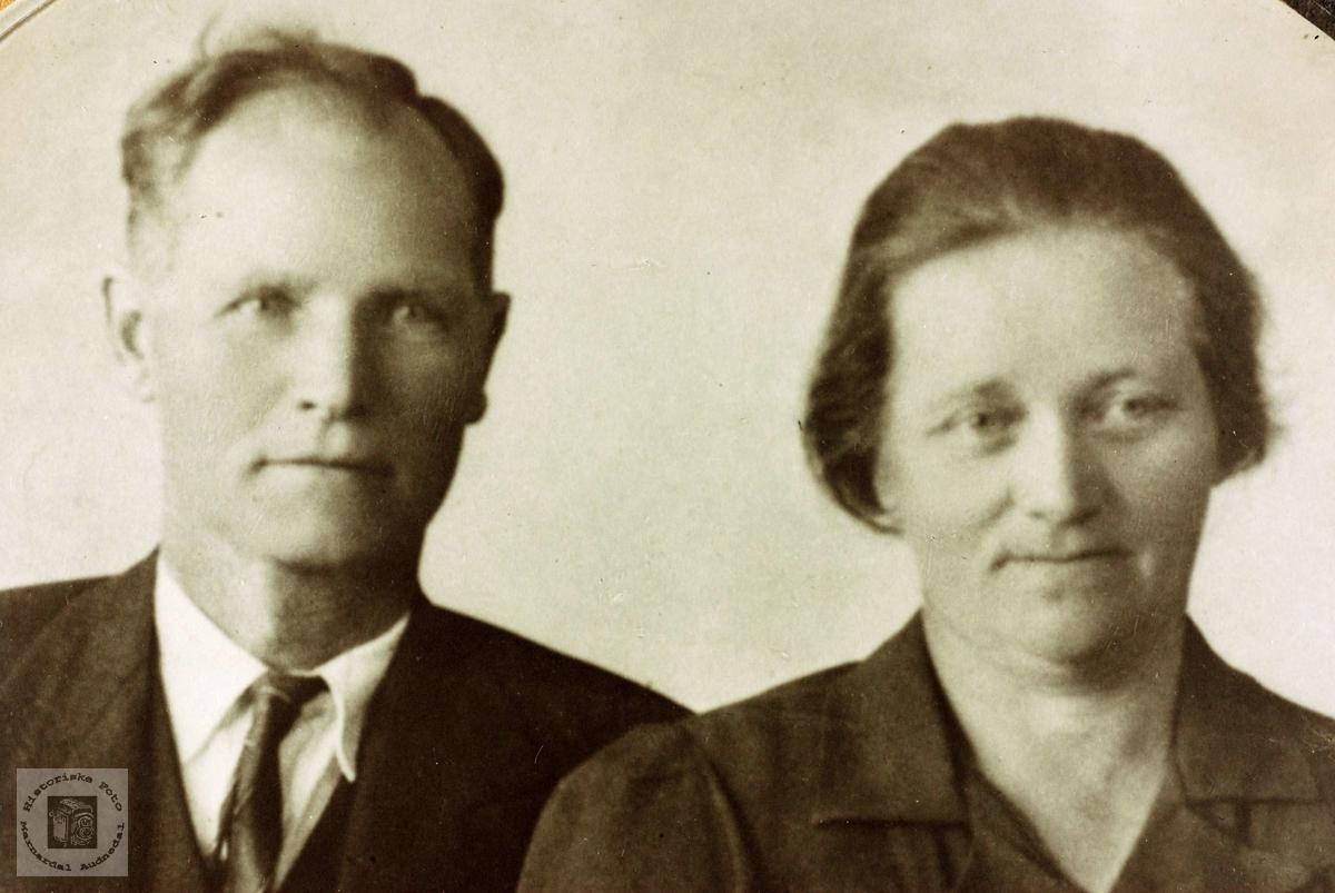 Portrett av ekteparet Daniel og Ingeborg Flottorp. Grindheim Audnedal.