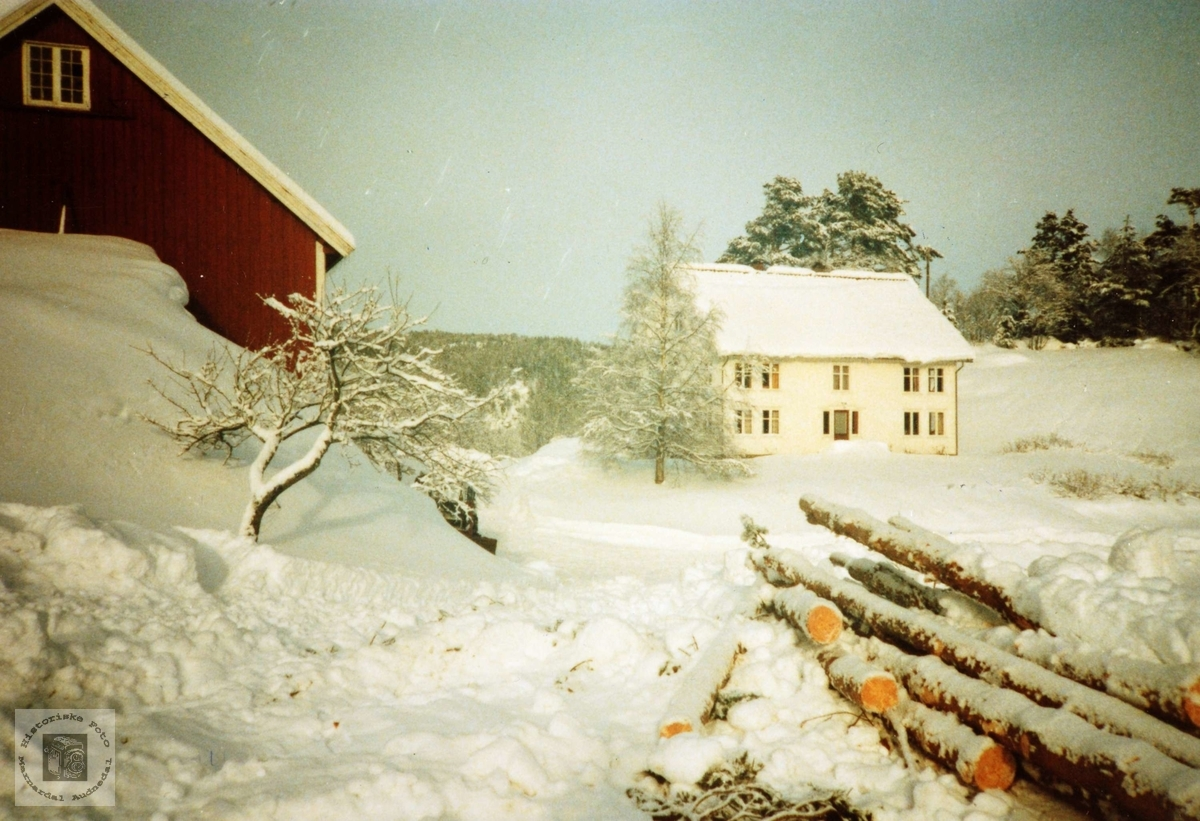 Vinterfoto fra Ubostad. Grindheim Audnedal.