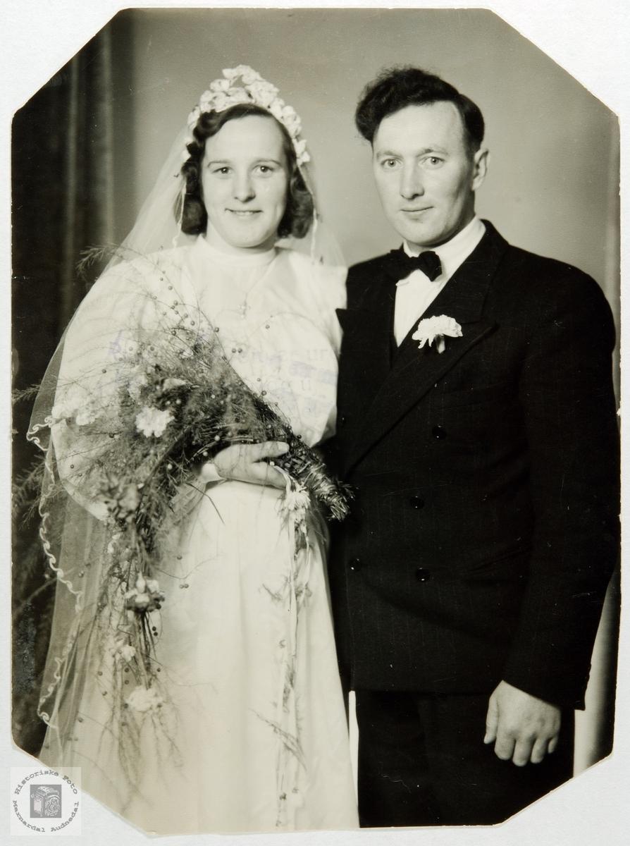 Brudeparet Jenny og Kristoffer Helle. Audnedal.