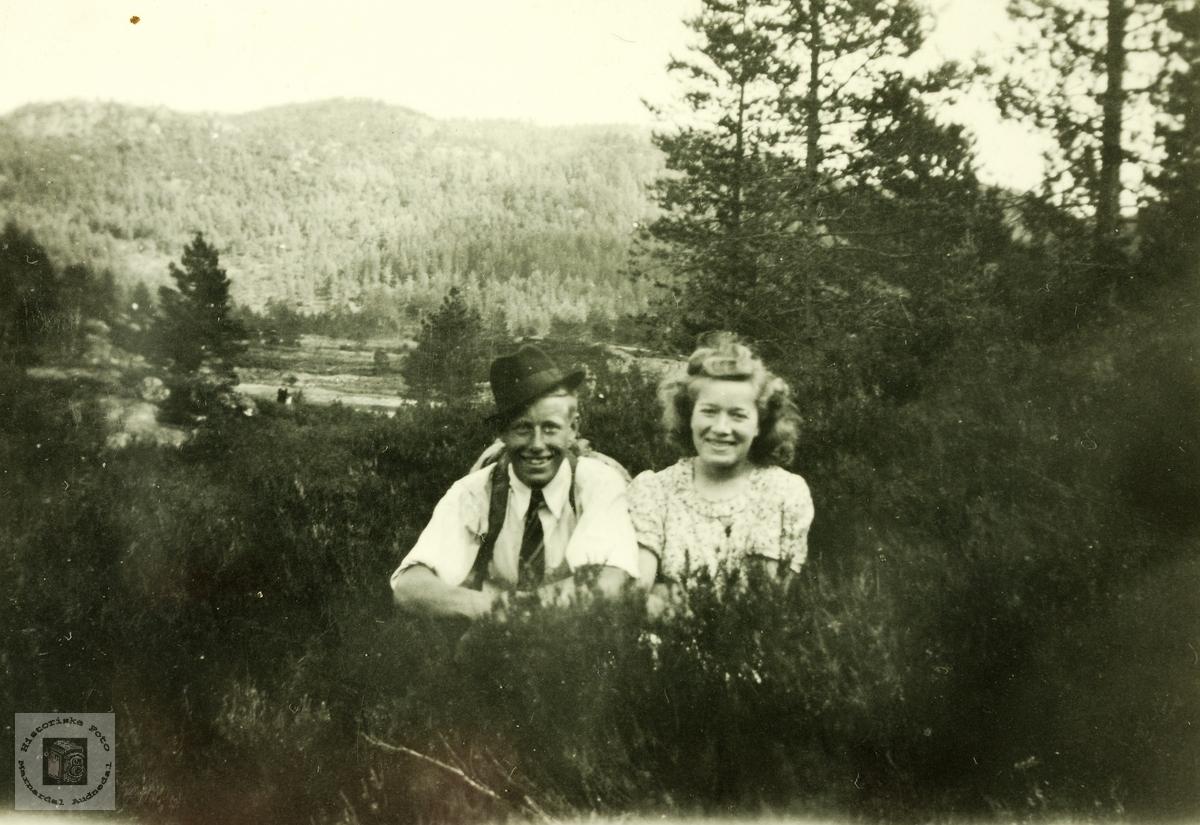 Paul Haaland og Anna Håland i unge år. Grindheim.