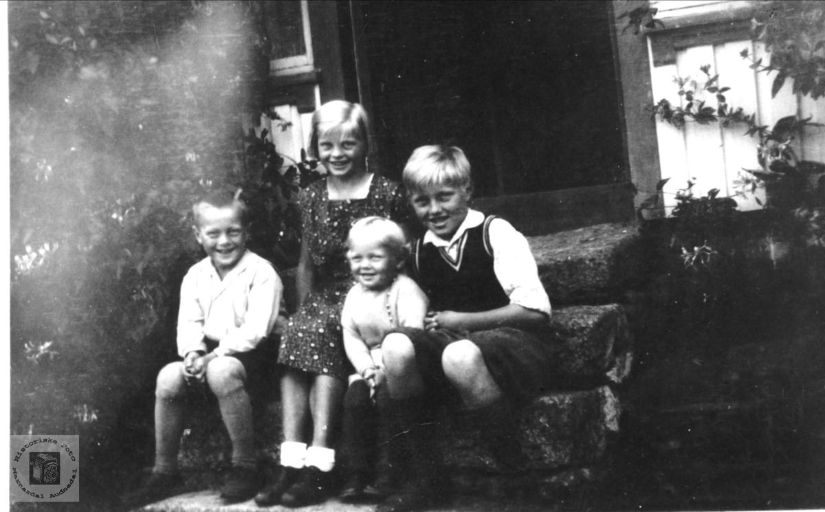 Portrett avTorgeir, Anna, Erling og Ånund Haugland, Bjelland.