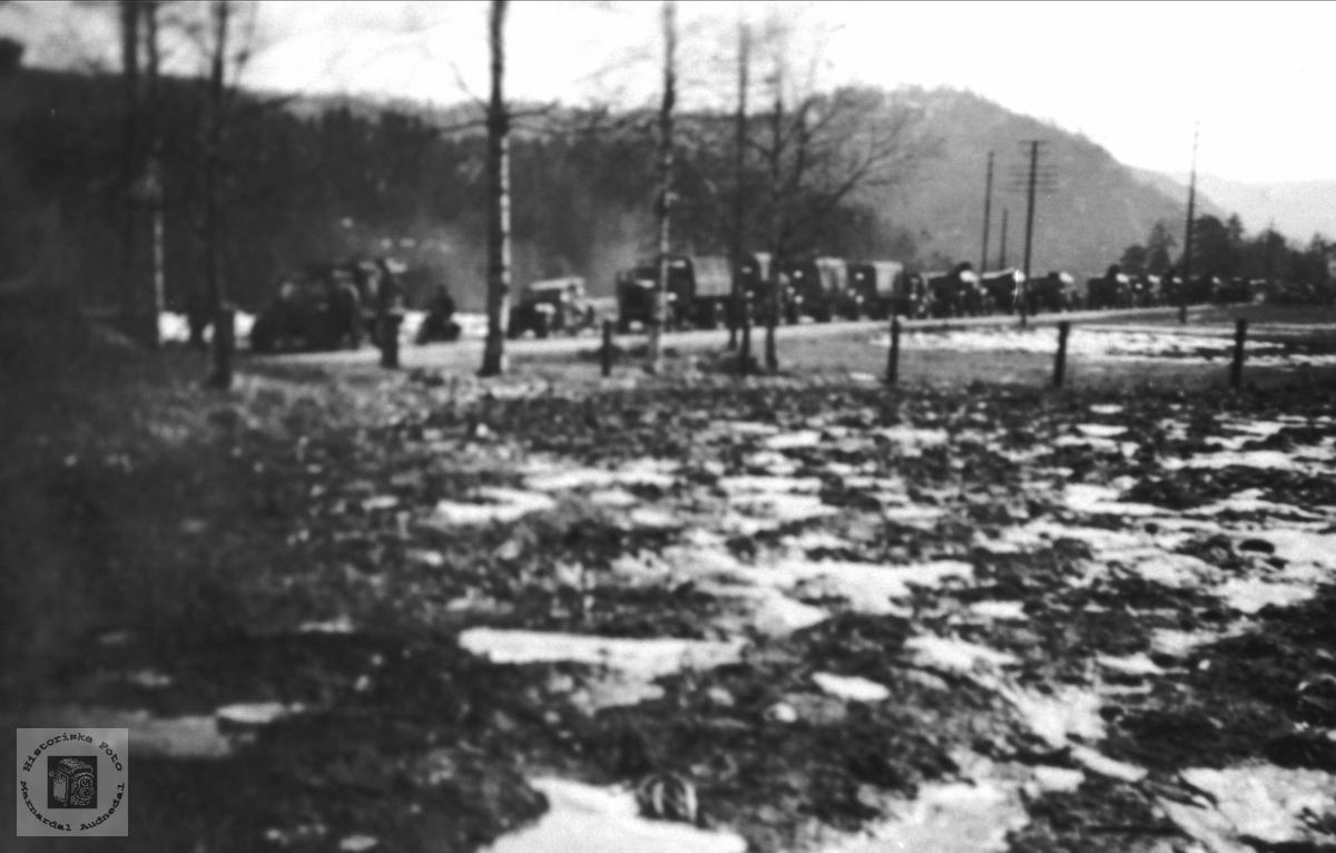 Tysk kollone på Bjelland i 1940.