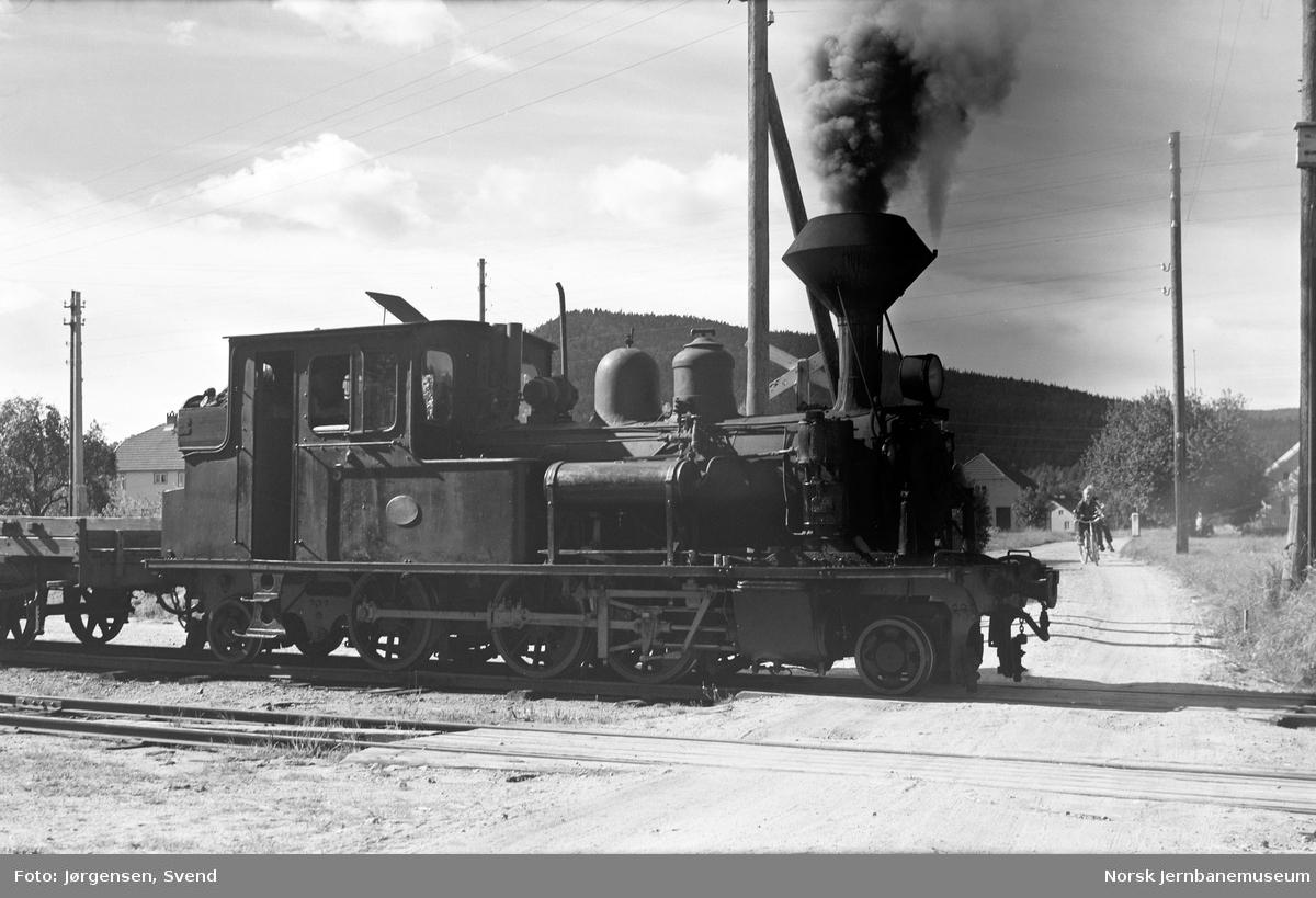 Damplokomotiv nr. 5 på sidesporet til Evje nikkelverk