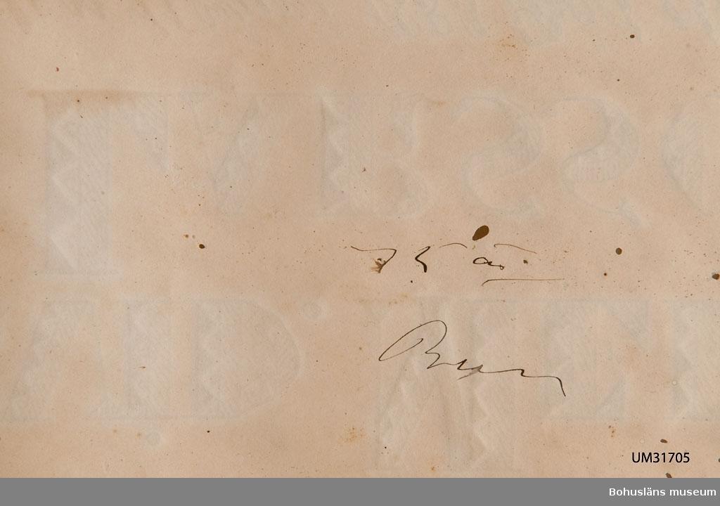 Dödstavla eller minnestavla över Arvid Melin Larsson (1883 - 1901).  Svartmålad träram med pastellage i nyrokoko. Originalglas. Textad i svart tusch på lumppapper  omramat av bladslinga.  I versaler texten: ARVID MELIN LARSSON Född den 11 Juni 1883 Död den 8 October 1901. Jag hafver uppfödt dem med glädje; men med gråt och sorg hafwer jag sett dem föras bort. Baruks bok. 4 cap. v: 11. Skador på ram och papper.