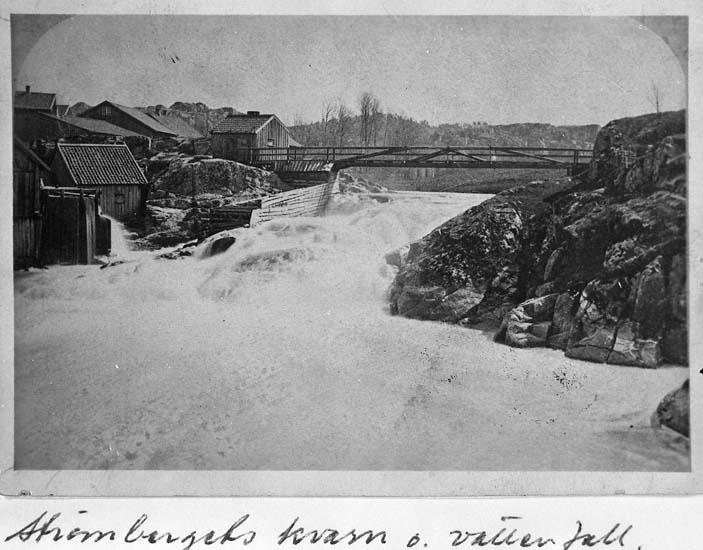"Text på kortet: ""Strömbergets kvarn, Uddevalla, år 1868""."