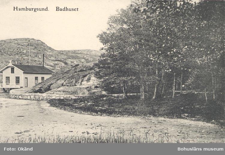 "Tryckt text på kortet: ""Hamburgsund Badhuset"".             ::"