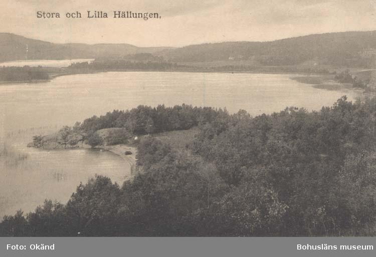 """Tryckt text på kortet: """"Stora och Lilla Hällungen."""""""