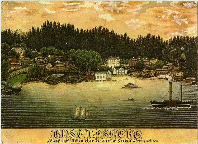 """Text på kortet: """"Gustafsberg""""."""