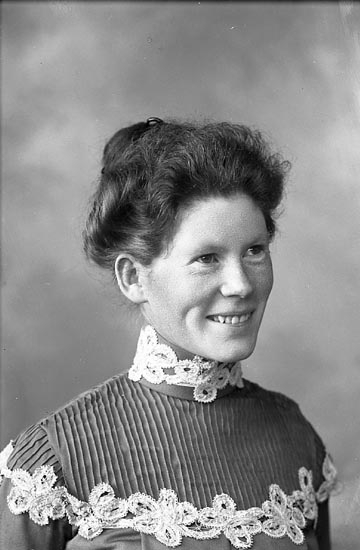 """Enligt fotografens journal nr 1 1904-1908: """"Waldenström, Fru R. Stenungsund""""."""