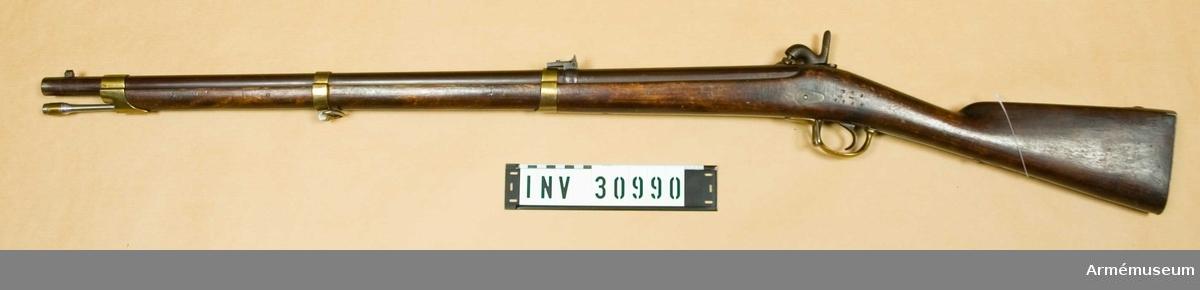 Samhörande nr är 30990-91.Infanterigevär m/1856 Minié. Grupp E II C.
