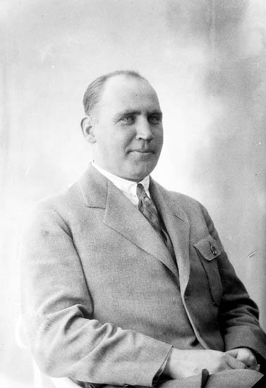 """Enligt fotografens journal nr 5 1923-1929: """"Nydqvist, Ingeniör A. Elfhög Trollhättan"""". Enligt fotografens notering: """"Ingeniör Atenor Nydqvist Elfhög Trollhättan""""."""