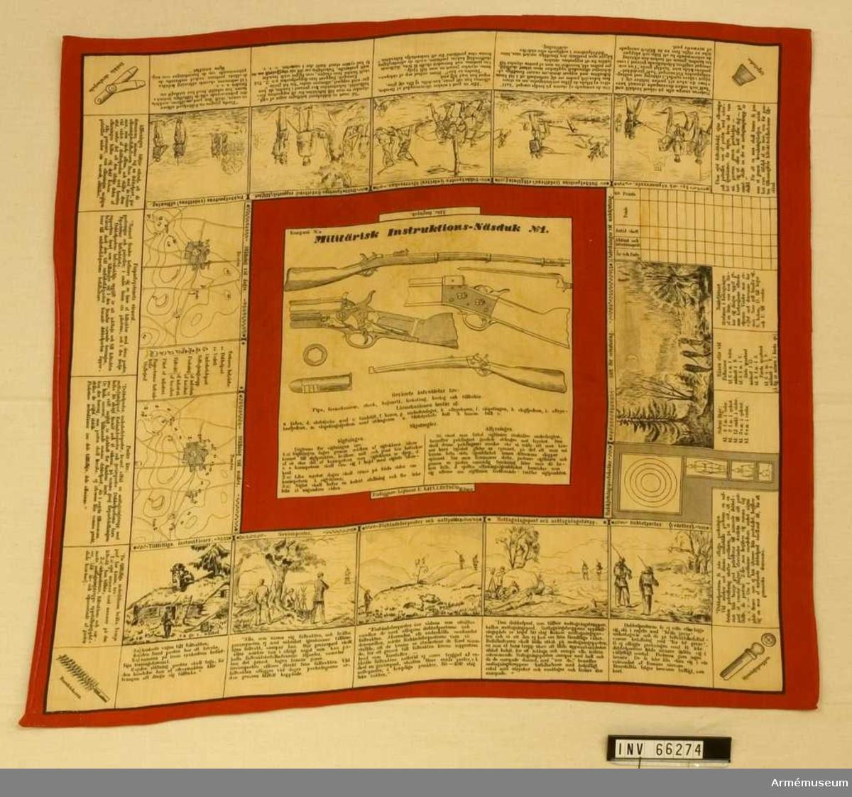 Grupp M V. Förlaga till text i mittfältet är hämtat ur Skjutinstruktion för infanteriet 1881. Texterna under bilderna är hämtade ur Instruktion för bevakningstjänsten 1881.